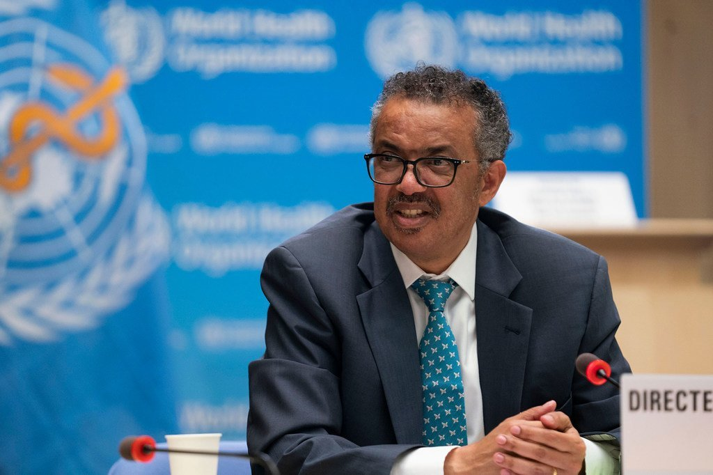 El director general de la Organización Mundial de la Salud, Tedros Adhanom Gebreyesus, durante la inauguración de la Asamblea Mundial de la Salud.