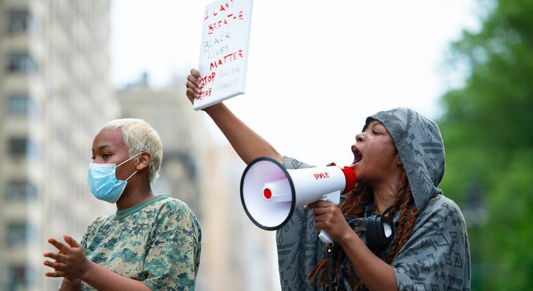 Protests against racism and police violence were held in New York City after the death of George Floyd on 25 May 2020 (file photo).