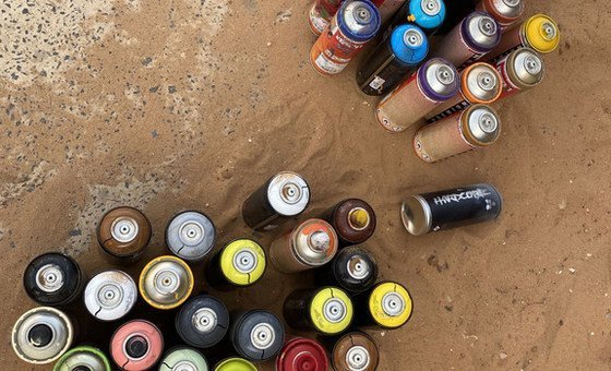 A street artist's supplies.