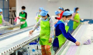 Des travailleuses sur une chaîne de montage dans une usine au Cambodge.