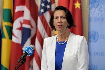 联合国秘书长缅甸问题特使克里斯汀·伯格纳 (Christine Schraner Burgener)向新闻界发表谈话。