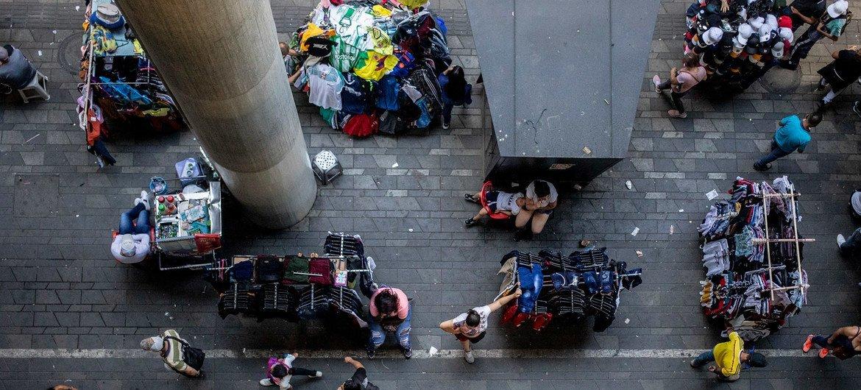 哥伦比亚的街头市场。
