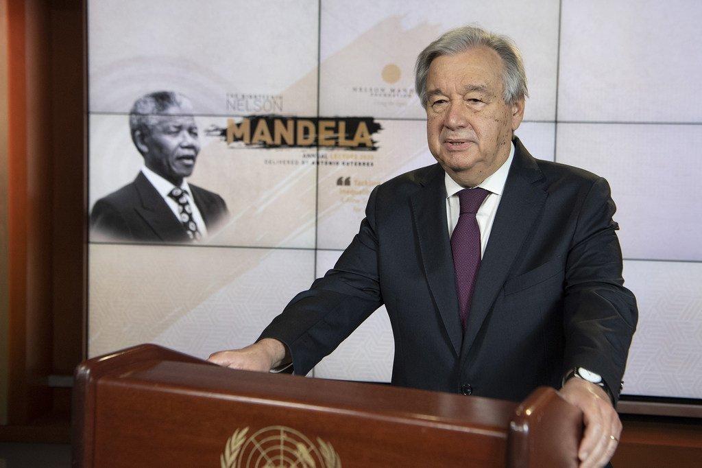 Photo ONU/Eskinder Debebe Le Secrétaire général de l'ONU, António Guterres à la conférence annuelle de la Fondation Nelson Mandela.