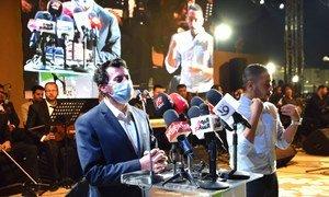الوزير أشرف صبحي وزير الشباب والرياضة في مصر يتحدث إلى المشاركين في الاحتفال باليوم الدولي للشباب.