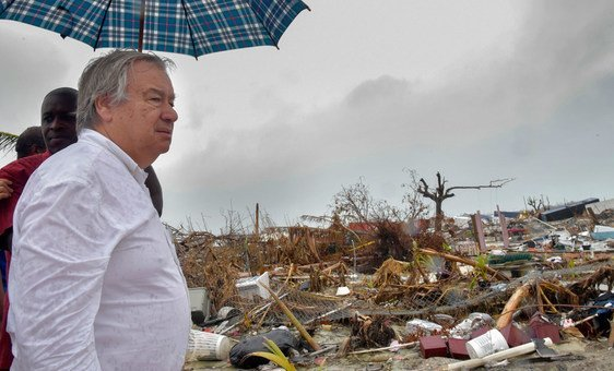 Secretary-General António Guterres tours Abaco Island, Bahamas to witness at first-hand the devastation caused by Hurricane Dorian.