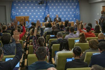 Katibu Mkuu wa UN Antonio Guterres akizungumza na wanahabari kuashiria kuanza kwa mkutano wa 74 wa Baraza Kuu la UN