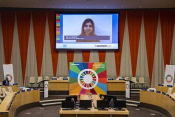 Malala Yousafzai, UN Messenger of Peace and Nobel Laureate (on screen), delivers remarks at the first virtual Sustainable Development Goals (SDG) Moment of the Decade of Action.