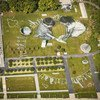 """An aerial view over the UN headquarters in NY shows the giant 11'000 square meters (118'000 sq ft) biodegradeable ephemeral fresco """"Work in Progress II""""."""