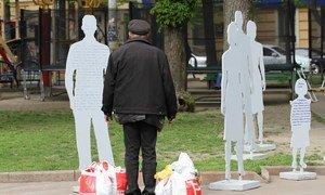 Инсталляция, посвященная жертвам торговли людьми. Установлена в Одессе, Украина