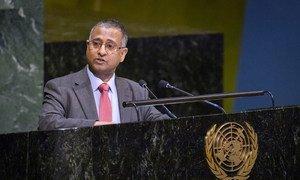 Ahmed Shaheed, Rapporteur spécial sur la liberté de religion ou de conviction, devant l'Assemblée générale des Nations Unies (archives).
