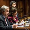 联合国秘书长在意大利首都罗马向意大利议会发表致辞。