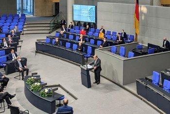 UN Secretary-General António Guterres addresses the Bundestag, the German parliament in Berlin.