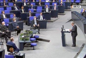 Katibu Mkuu wa Umoja wa Mataifa António Guterres akihutubia bunge la Ujerumani, Bundestag.