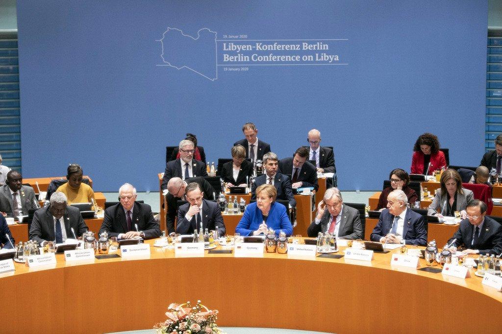 Photo : ONU/ le Secrétaire général de l'ONU, Antonio Guterres à la Conférence de Berlin sur la Libye .