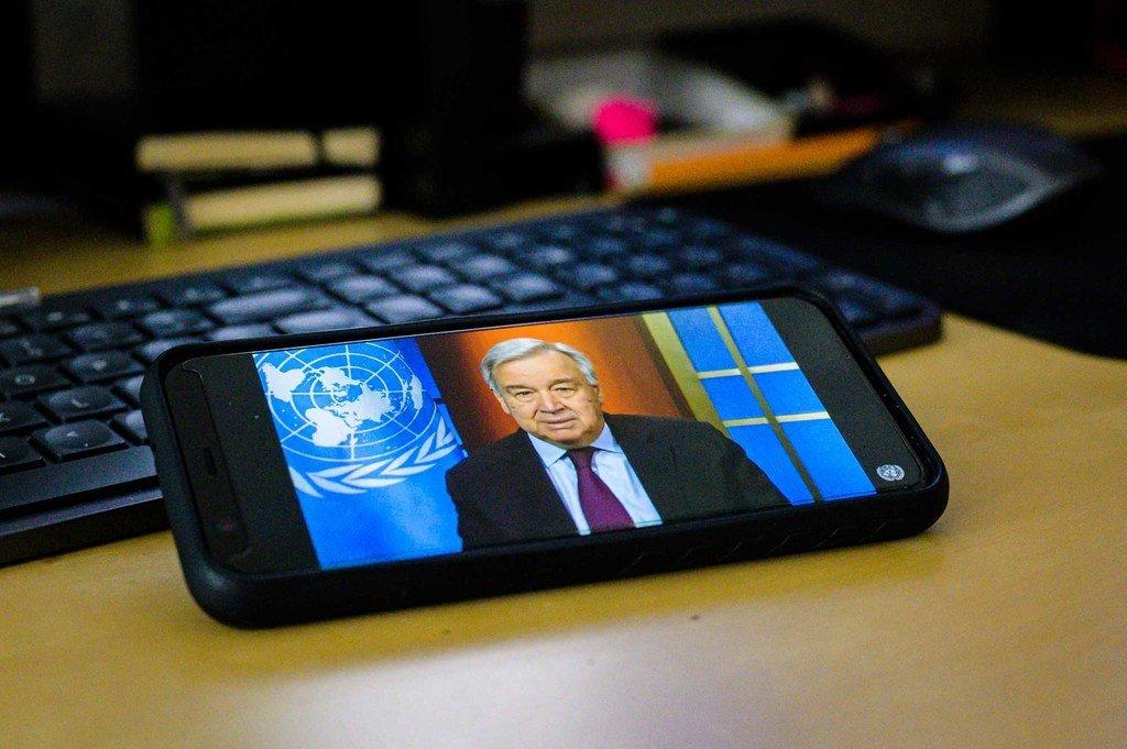联合国秘书长古特雷斯举行了一次关于全球新型冠状病毒疫情危机的虚拟新闻发布会。