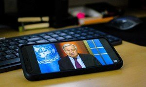 Secretary-General António Guterres holds a virtual press conference on the global COVID-19 crisis.
