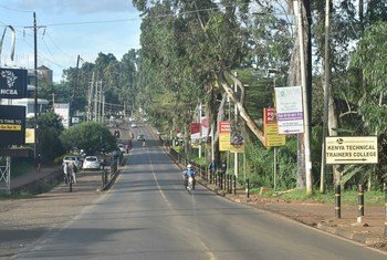 The usually busy UN Avenue in Nairobi is almost empty as people stay at home to avoid spreading the coronavirus.