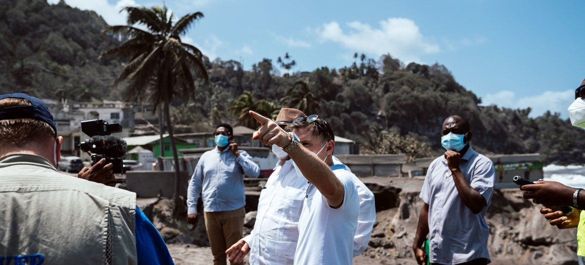 UN Resident Coordinator Didier Trebucq (pointing) and Prime Minister Ralph Gonsalves, along with other UN agency officials, travel to the Red zone to assess the impact of La Soufrière volcano eruption in St. Vincent and the Grenadines.