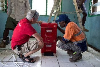 New power cube technology on display in Vanuatu. The cubes are charged with electricity using solar rays.