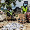 Families displaced by conflict and violence in the eastern Democratic Republic of the Congo receive humanitarian aid from the UN.