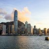 The skyline of Hong Kong harbour.