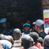 UN peacekeepers support a UNICEF Ebola sensitization programme at a prison in Butembo, in the east of the Democratic Republic of the Congo. (August 2019)