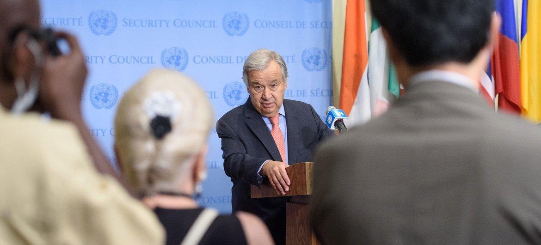Le Secrétaire général de l'ONU, António Guterres, lors d'un point de presse le 19 août.