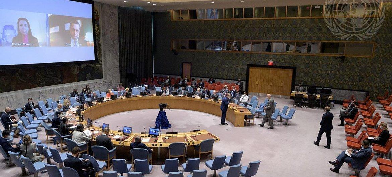 اجتماع مجلس الأمن حول التهديدات للسلم والأمن الدوليين من جراء الأعمال الإرهابية.