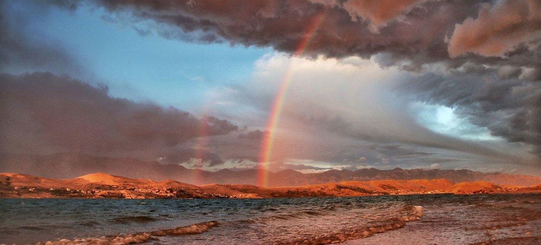 Regenbogen nach einem Sturm in Kroatien.