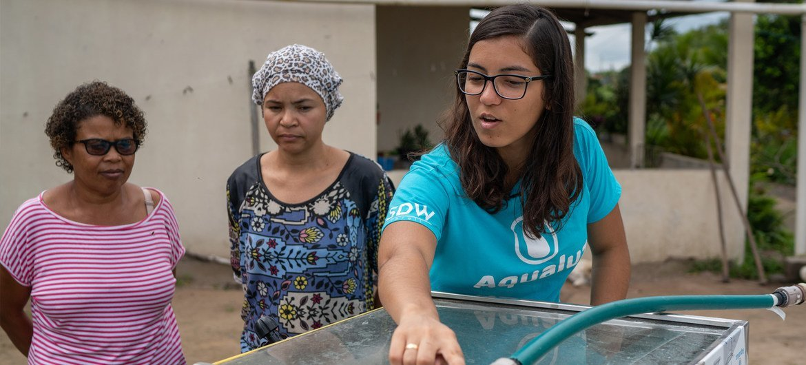 Anna-Luisa Beserra from Brazil is a previous winner of the Young Champions of the Earth prize.  She created Aqualuz, a low-cost filter that uses solar radiation to disinfect rainwater captured in cisterns (file photo).