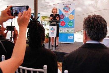 Inger Andersen, Directrice exécutive du Programme des Nations Unies pour l'environnement, lors d'une réunion à Nairobi, au Kenya.