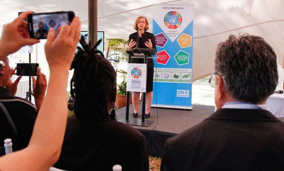 The Executive Director of the UN Environment Programme, Inger Andersen, addresses a meeting in Nairobi, Kenya.
