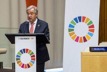 El Secretario General António Guterres durante el Momento ODS, un acto dedicado a impulsar la consecución de la Agenda 2030 para el desarrollo sostenible
