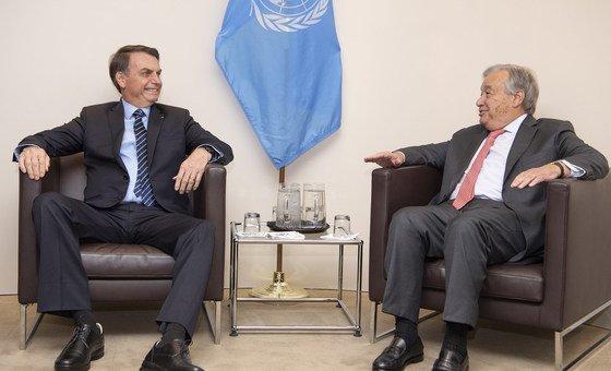 O secretário-geral António Guterres se encontrou com o presidente do Brasil, Jair Bolsonaro.