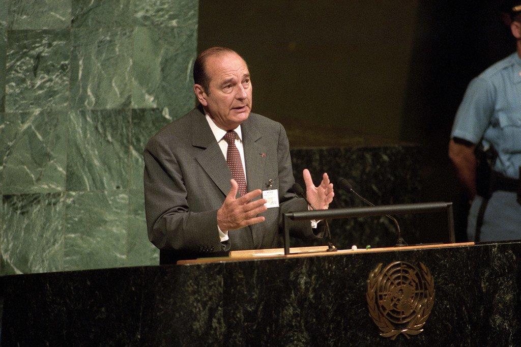 法国总统雅克·希拉克在纽约联合国大会特别会议上发表讲话(1997年6月23日)。