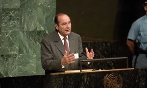 Jacques Chirac, President of France, addressing the special session during the General Assembly at the United Nations, New York (23 June 1997).