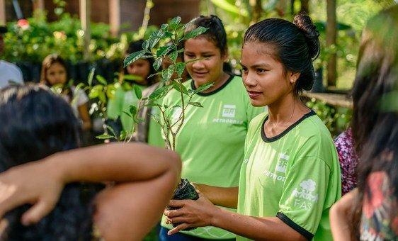 Estudantes aprendem sobre conservação ambiental, qualidade de vida e rendas geradas pela floresta.