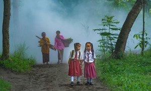 Dos niñas en un bosque de indonesia.