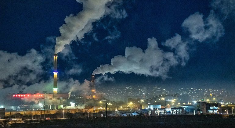 Emissions from coal-fired power plants contribute to air pollution in Ulaanbaatar, Mongolia.