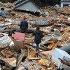 آثار الدمار بعد كارثة تسونامي.في اليابان.