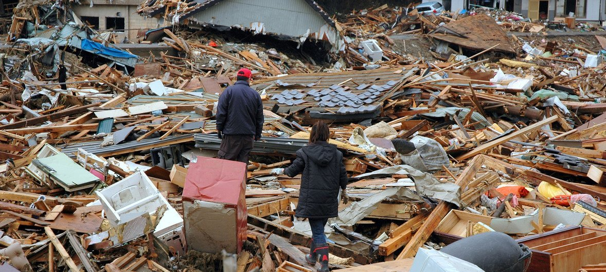 Uharibifu baada ya tsunami kupiga Japan