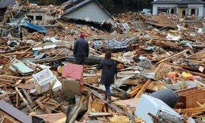 Destruction in Japan after Tsunami.