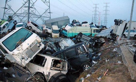 Destruição no Japão após Tsunami.