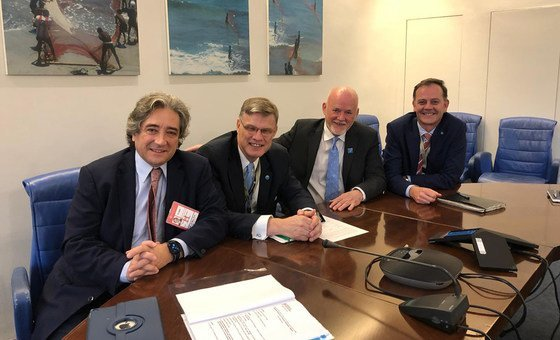 Reunião do ministro Ricardo Serrão Santos com Arni Mathiesen, da FAO, e Peter Thomson durante Simpósio Internacional sobre Sustentabilidade Pesqueira.