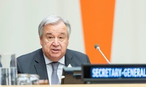 Secretary-General António Guterres addresses participants at the United Nations and the Shanghai Cooperation Organization: Cooperation to Promote Peace, Security and Stability event.