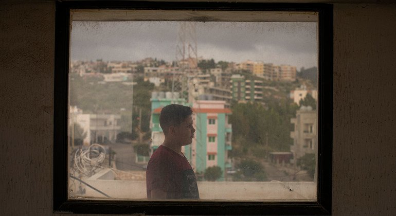 Thirteen-year-old Syrian refugee Bakr works in a supermarket and delivers food to support his family in Barja, Lebanon. The family are awaiting resettlement to Norway.
