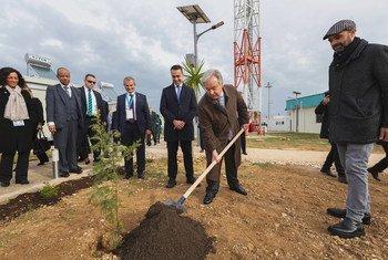 联合国秘书长古特雷斯在意大利布林迪西全球服务中心的绿色村庄种下了一颗树。