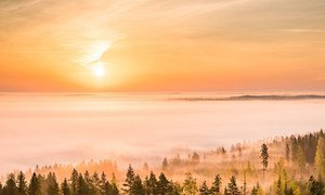 Late September sunrise as seen from Paalijärvi observation tower in Alajärvi, Finland. May 2020, was the warmest on record, UN weather agency WMO has confirmed.