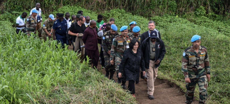 2019年11月15日,联合国秘书长特别代表莱拉·泽鲁居伊女士访问了北基伍省的基尚加。