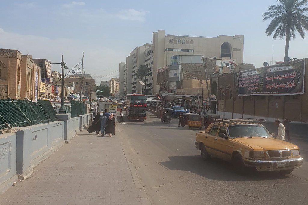 Une rue de Bagdad, la capitale de l'Iraq, avant les manifestations qui ont débuté en octobre 2019